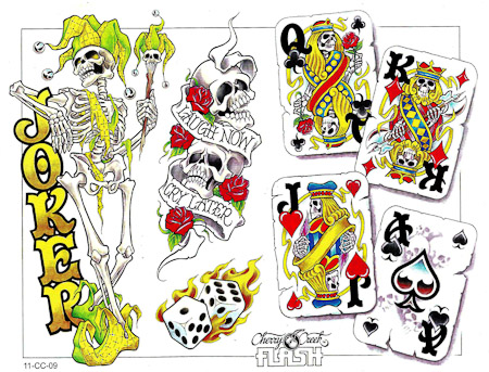 Cherry Creek Cartoon Comic Joker Queen King Writing Skull Dice Card Skeleton Tattoos Set