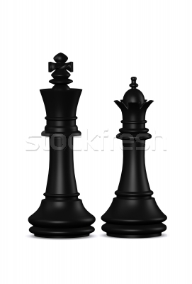 Chess King And Queen Tattoo Design On White Background