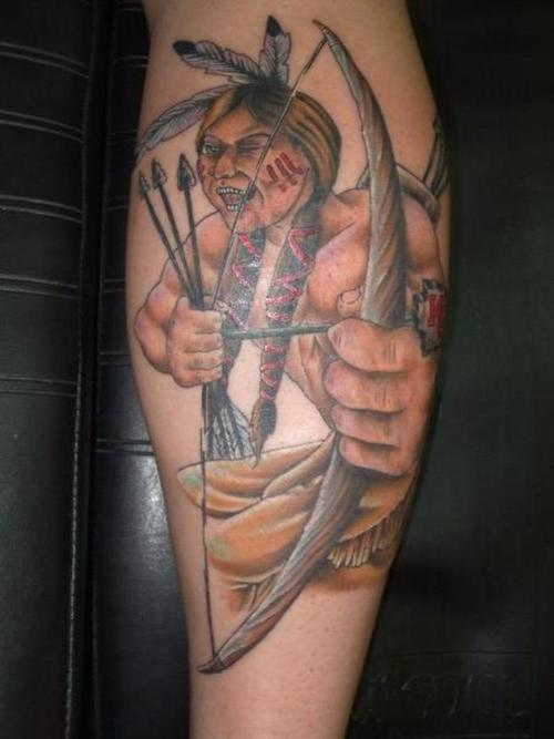 Chief With Arrows And Bow Tattoo