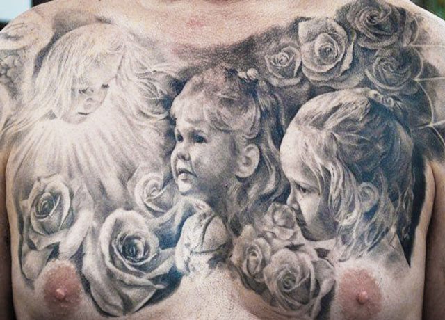 Children And Roses Portrait Tattoos On Full Chest