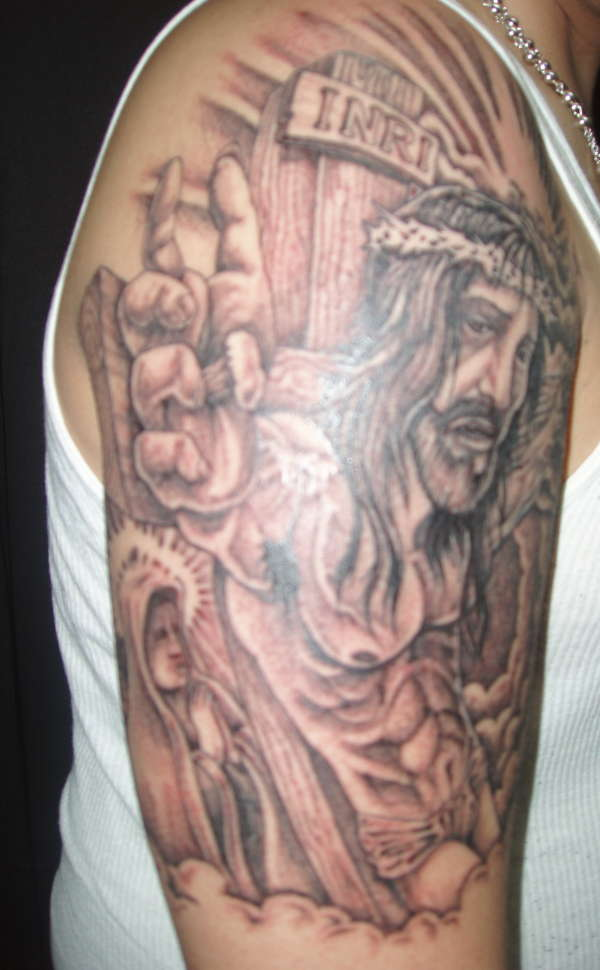 Christian God Portrait Tattoo On Half Sleeve