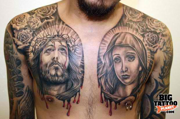 Christian Portrait Tattoos On Chest