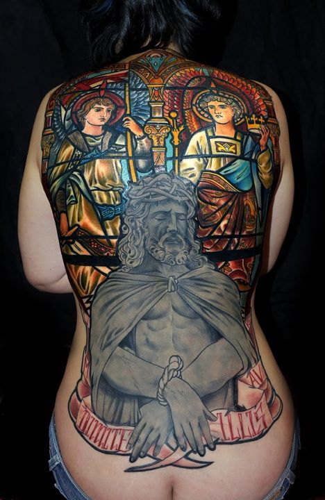 Christian Stained Glass Tattoos On Whole Back