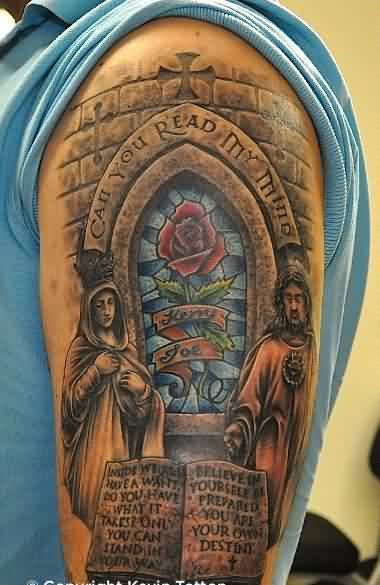 Church Stained Glass Windows Tattoo On Half Sleeve