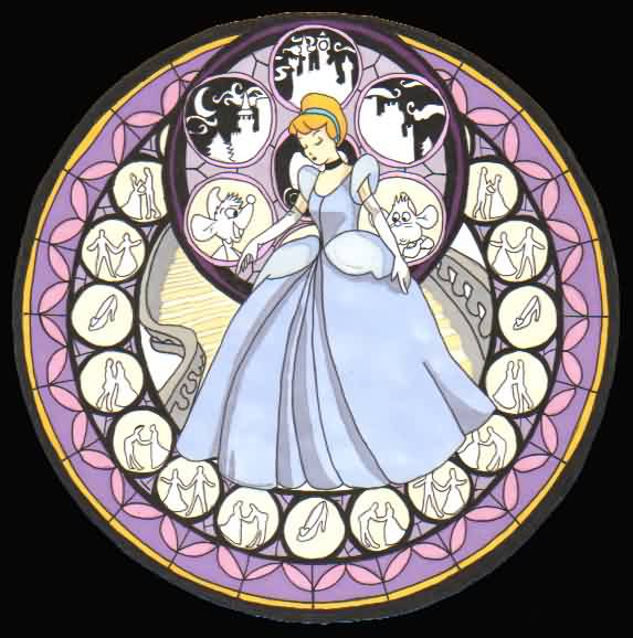 Cinderella Stained Glass Tattoo Graphic
