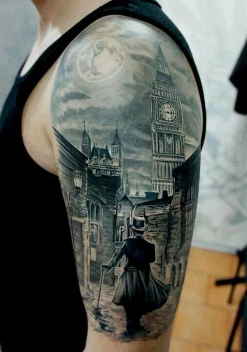 City Scene Portrait Tattoo On Half Sleeve