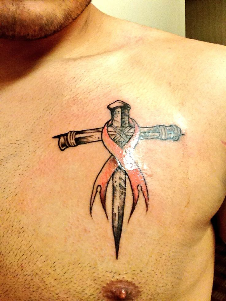 Clean Cross With Ribbon Tattoo On Chest