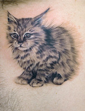 Clean Grey Sitting Cat Tattoo