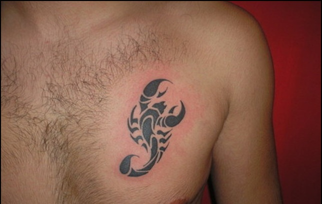 Clean Tribal Scorpion Tattoo On Chest