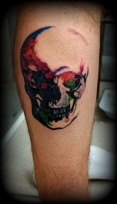 Clean Watercolor Skull Tattoo