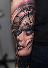 Clock And Face Portrait Tattoos On Arm