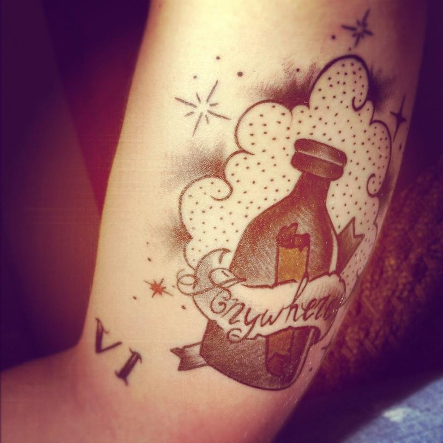 Clouds And Bottle Tattoos