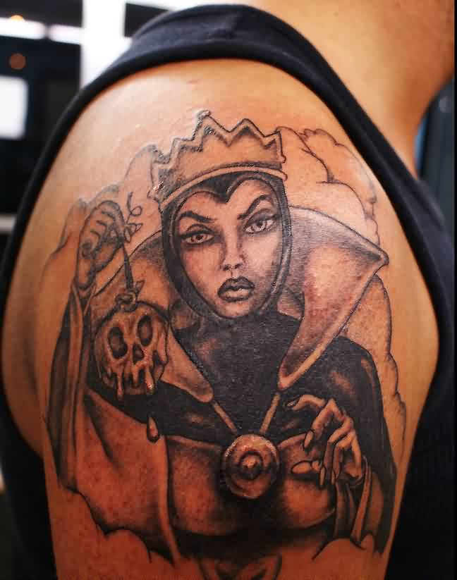 Clouds And Evil Queen Tattoos On Shoulder