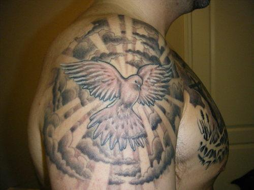 Clouds And Flying Pigeon Tattoos On Shoulder For Men