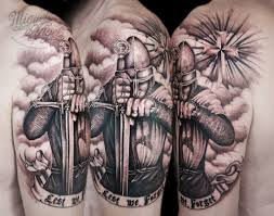 Clouds And Helmet Warrior Tattoos On Half Sleeve