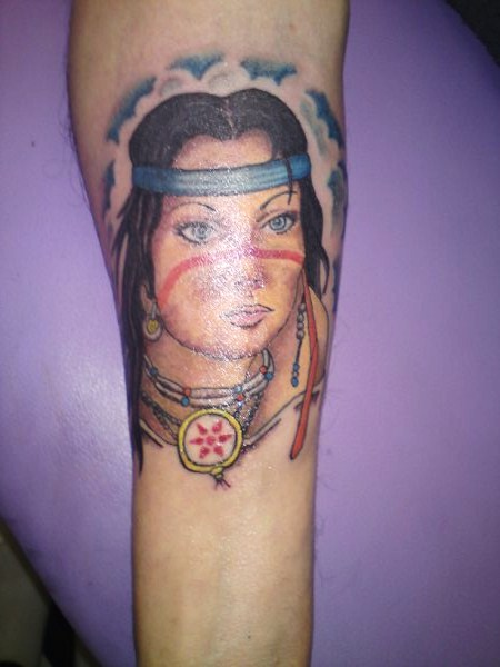 Clouds And Indian Lady Portrait Tattoos On Forearm