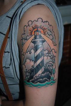 Clouds And Lightning Lighthouse Tattoos On Biceps