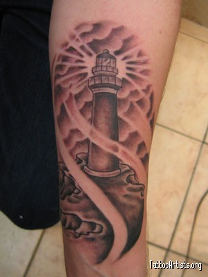 Clouds And Lightning Lighthouse Tattoos On Forearm