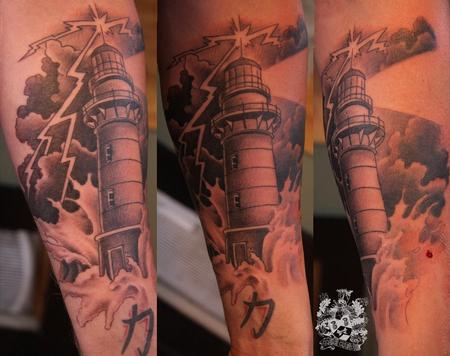 Clouds And Lightning Lighthouse Tattoos