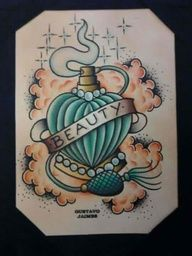 Clouds And Perfume Bottle Tattoos Design