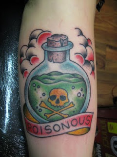 Clouds And Poison Bottle Tattoos