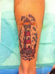 Clouds And The Lighthouse Tattoos On Leg
