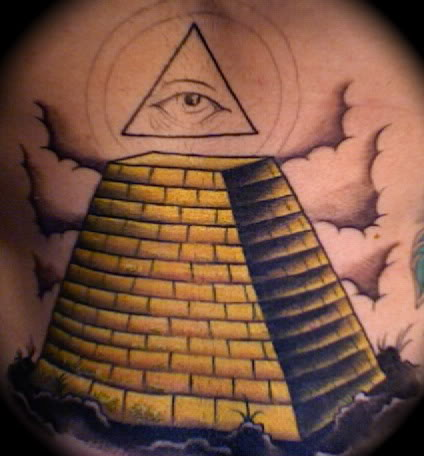 Clouds And Yellow Ink Pyramid Tattoos On Whole Back