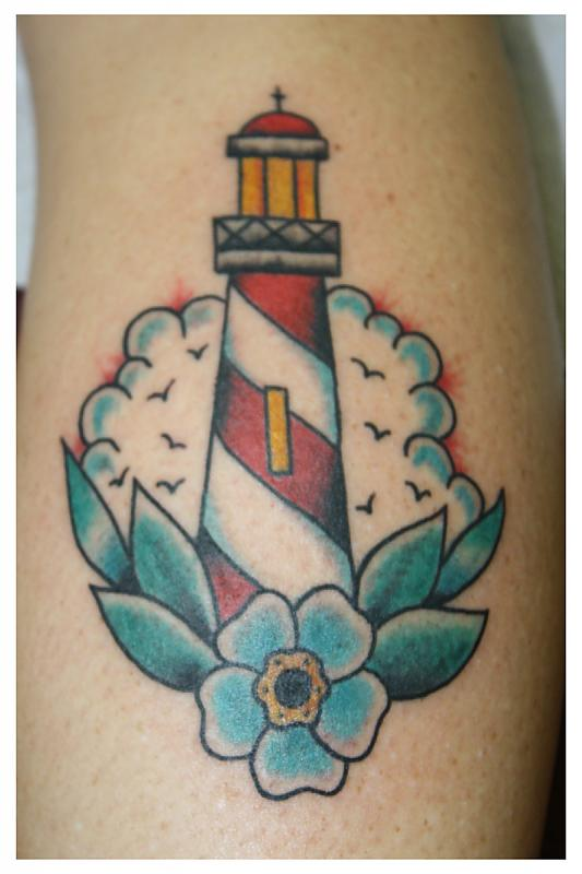 Clouds Lighthouse And Blue Flower Tattoos
