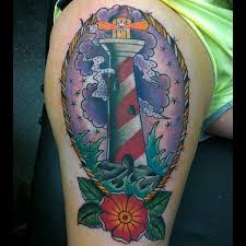 Clouds Lighthouse Waves And Flower Tattoos