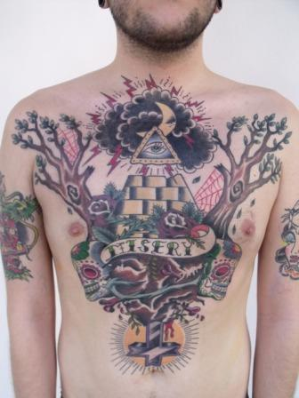 Clouds Moon And All Seeing Eye Pyramid Tattoos On Chest
