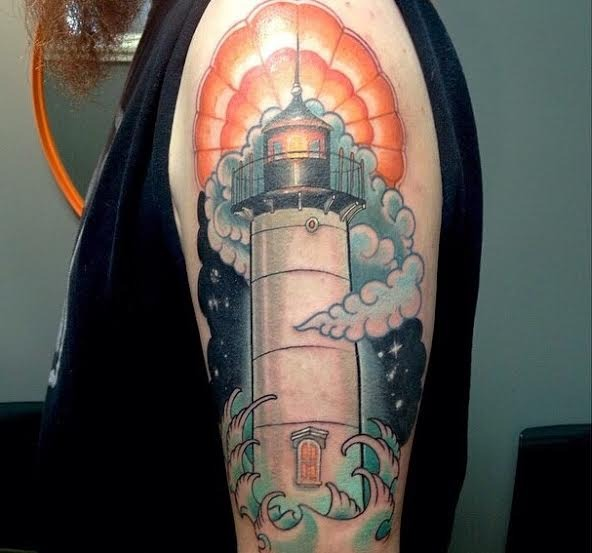 Clouds White Lighthouse And Wave Tattoos On Half Sleeve