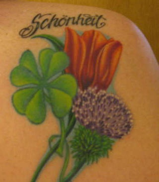 Clover And Red Tulip Tattoo