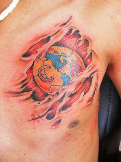 Club America Ripped Skin Tattoo On Chest