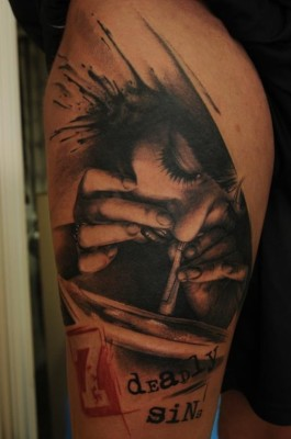 Cocain Girl Portrait Tattoo