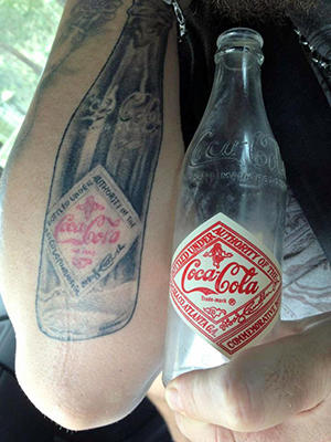 Coke Bottle Tattoo And Real Bottle