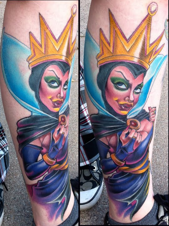 Colo Evil Queen Tattoo On Leg