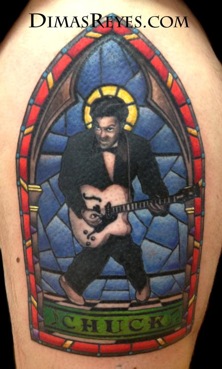 Color Chuck Berry Stained Glass Tattoo