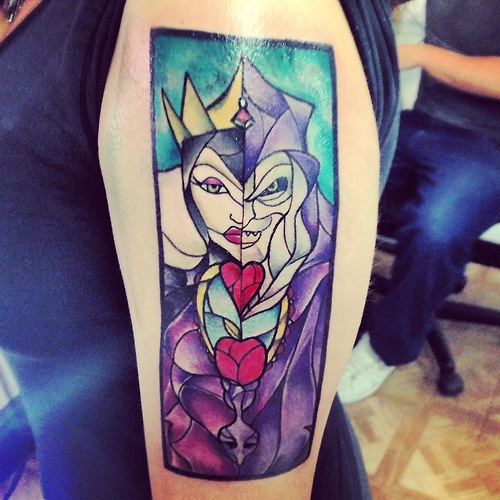 Color Evil Queen Stained Glass Tattoo On Arm