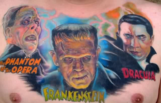 Color Ink Evil Portrait Tattoos On Chest