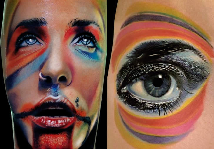Color Ink Face And Eye Portrait Tattoos