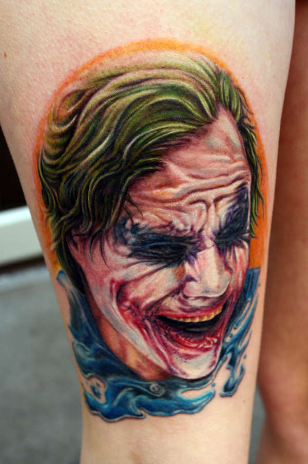 Color Ink Joker Portrait Tattoo On Leg