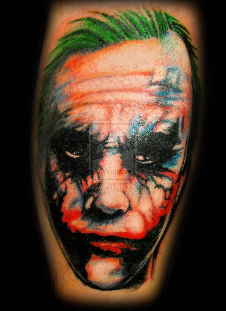 Color Ink Joker Portrait Tattoo