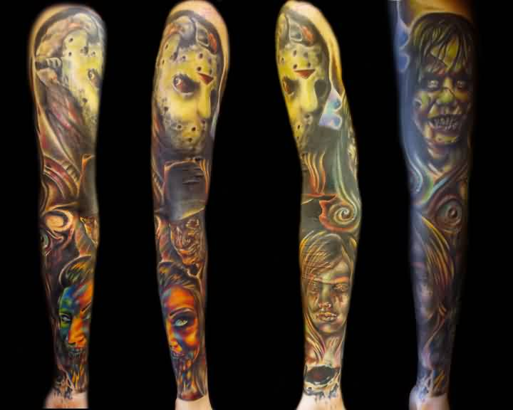 Color Ink Scary Portrait Tattoos On Whole Sleeve