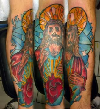 Color Ink Stained Glass Jesus Tattoos