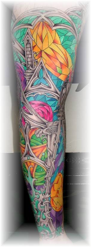 Color Ink Stained Glass Tattoo On Whole Leg