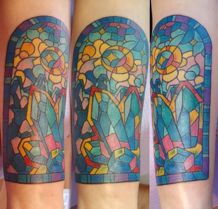 Color Ink Stained Glass Tattoos
