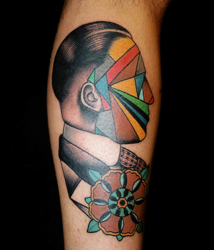 Color Ink Triangle Face Portrait Tattoo