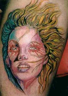 Color Ink Wicked Girl Portrait Tattoo