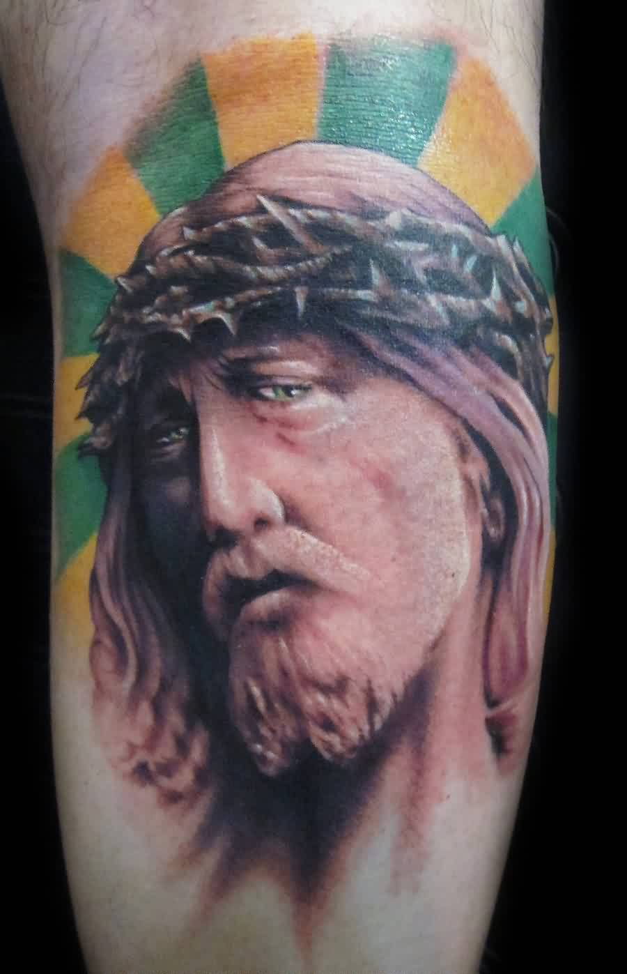 Color Rays And Jesus Portrait Tattoos