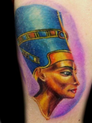 Colored Egyptian Queen Nefertiti Portrait Tattoo